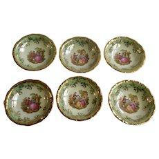Fruit, Berry or Cereal Bowls K+T Kunst-Palette Regnitzlosau Fragonard Love Story Bavaria Made In Germany Iridescent Mint Green Kleiber 22 Karat Goldauflage
