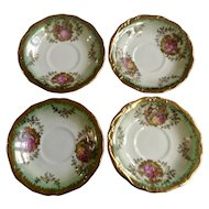 Saucer Plates K+T Kunst-Palette Regnitzlosau Fragonard Love Story Bavaria Made In Germany Iridescent Mint Green Kleiber 22 Karat Goldauflage