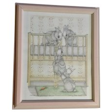 Susan (Sue) A. Rupp (1959-2008), Letting Hare Down, Anthropomorphic Baby Bunnies Climbing Out Of Crib Bed Signed Limited Edition Print Signed by Artist