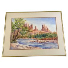 Virginia Clayton, Painting, Rock Spires Across The Desert Stream, Works on Paper, Signed by Artist, Original Watercolor