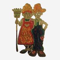 Farmer and Wife Brooch Pin Costume Jewelry