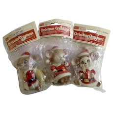 Vintage Sears Mouse Santa Claus Christmas Ornaments Trim Shop 3 Figurines New Old Stock