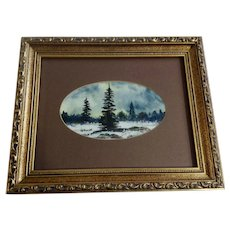 Small Landscape Watercolor Painting Trees in Snowy Forest Clearing