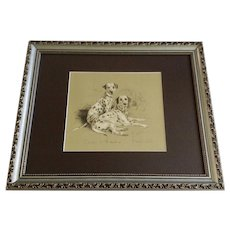 1930's-1940's Lucy Dawson, Dalmatian Dogs Named Scar & Julie Framed Print from the Book, Dogs Rough And Smooth