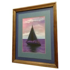 Dee Devries, Sail Boat at Sunset Pastel Mixed Media Works on Paper Signed By Michigan Artist