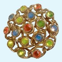 Sarah Coventry Multi-Colored Rhinestone and Gold-Tone Brooch Pin Costume Jewelry 1-5/8""