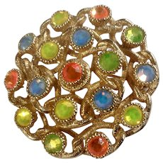 """Sarah Coventry Multi-Colored Rhinestone and Gold-Tone Brooch Pin Costume Jewelry 1-5/8"""""""