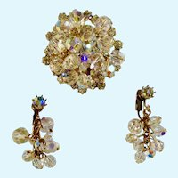 Earrings and Rhinestone Brooch Pin Aurora Borealis Matching Set Clip-On