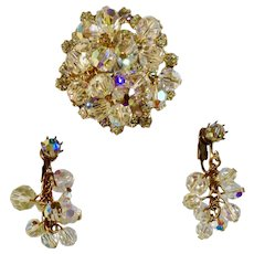 Aurora Borealis Matching Set of Dangling Beaded Clip-On Earrings and Rhinestone Brooch Pin Costume Jewelry