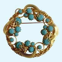 Stunning Gold-Tone Faux Turquoise Beaded Brooch Pin Costume Jewelry 2-1/8""