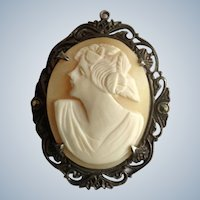 Vintage Cameo Woman On Sterling Silver Setting with Marcasites Pendant 1-3/4""