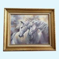 Loretta Lee Netzel, White Unicorn Horses 'The legends' Original Acrylic Painting 1985