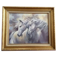Loretta Lee Netzel, White Unicorn Horses 'The legends' Original Acrylic Painting 1985 Signed by Nevada Artist