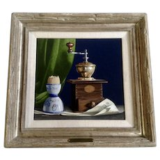 Don Hedin (1920-2012) Trompe L'oeil Realist Still Life Oil Painting 'Breakfast' Signed by Listed Artist