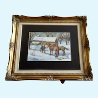 George R. King, Watering Horses in a Snow Covered landscape Watercolor Painting