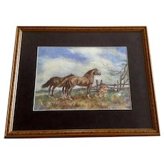 George R. King, Horses at the Fence Line Landscape Watercolor Painting 1957 Signed by Artist