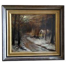 D Stevensen, A Dark Inn On Moon Lite Night, Oil Painting on Board Signed by Artist