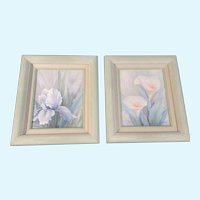 A Hubert, Iris & Calla Lilly Flowers Pastel Color Acrylic Paintings