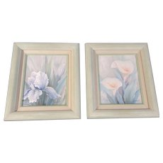 A Hubert, Iris & Calla Lilly Flowers Pastel Color Acrylic Paintings on Canvas Signed By Artist in Mint Green Frames 1973