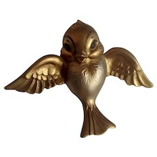 Adorable Gold Colored Bird  Hand Painted Wall Plaque Signed Van Ripper