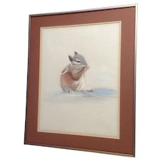 R Janas, Chipmunk Squirrel Nibbling a Seed, Pastel Painting Signed by Artist