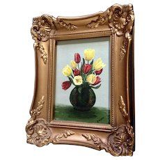 Tulips in a Vase Floral Small Oil Painting in Wood Gold Frame Signed By Artist