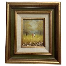 Couple Walking in a Fall Field of Daisy Flowers Oil Painting on  Canvas Board Signed By Artist
