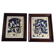 J sloan, King's Knight and Queen's Knight Chess Horse Acrylic Paintings Signed by Artist
