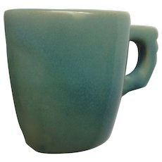 Rare Old Frankoma Pottery Plainsman Square Demitasse Coffee Cup Prairie Verde Green California Pottery 1949 - 1952