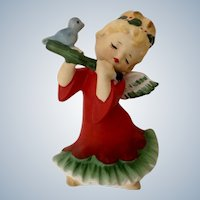 Vintage Lefton Christmas Angel Girl Playing Flute With Little Bluebird #2543 Porcelain Figurine