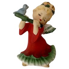Vintage Lefton Christmas Angel Girl Playing Flute With Little Bluebird #2543
