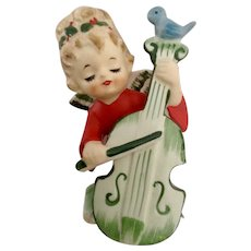 Vintage Lefton Christmas Angel Girl Playing Cello With Little Bluebird #2543