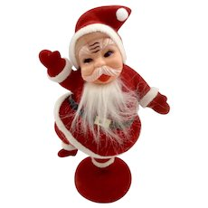 Old Dancing Santa Claus In His Red Suit Flocked Plastic Blow Mold Figurine