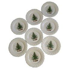 Nikko Happy Holidays 10 3/4 Inch Christmas Tree Dinner Plates Japan 8 Pieces