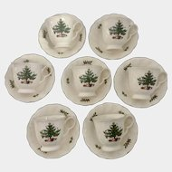 Nikko Happy Holidays Christmas Tree  Cup and Saucer Japan 7 Sets