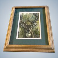Bixby, Buck With a Big Rack, Deer, Original Watercolor Works on Paper Signed by the Artist Bixby