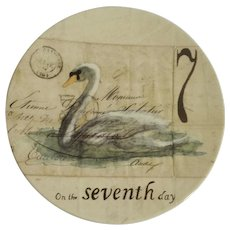 Twelve Days of Christmas Salad or Dessert Plate Day 7 Seven Swans A-Swimming Williams Sonoma Discontinued