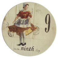 Twelve Days of Christmas Salad or Dessert Plate Day 9 Nine Ladies Dancing Williams Sonoma Discontinued