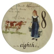 Twelve Days of Christmas Salad or Dessert Plate Day 8 Eight Maids A-Milking Williams Sonoma Discontinued