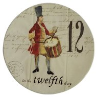 Twelve Days of Christmas Salad or Dessert Plate Day 12 Twelve Drummers Drumming Williams Sonoma Discontinued
