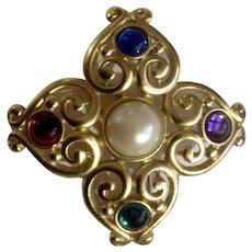 """Avante Multi-Colored Brooch Pin Costume Jewelry 2-1/4"""""""