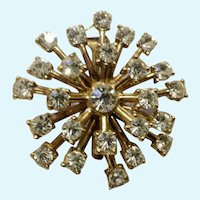 Vintage Faux Diamond Rhinestones Starburst Brooch Pin Costume Jewelry 1-1/2""