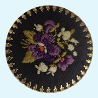 """Vintage Hand Embroidered Flowers On Black and Gold-Tone Backing Brooch Pin 1-3/8"""""""