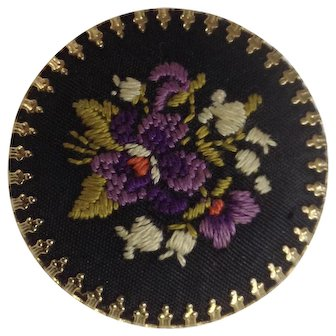 Vintage Hand Embroidered Flowers On Black and Gold-Tone Backing Brooch Pin 1-3/8""