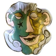 Zany Cubist Modern Art Figural Dish Signed By Artist Les