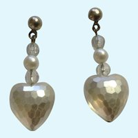 Disco Ball Heart Pearl Colored Earrings With Stud Post For Pierced Ears Costume Jewelry