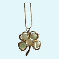 Vintage Four Leaf Clover Pendant on Gold-Tone Chain Necklace
