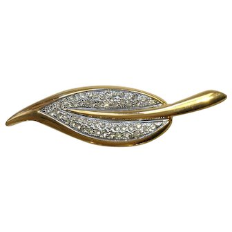 Gold-Tone Leaf Encrusted With Faux Diamond Rhinestones Brooch Pin Costume Jewelry 3-1/2""