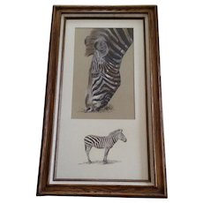 Hans P Luetcke (1925-2007), Zebra at the Zoo Mixed Media Paintings Signed By Listed Sedona Arizona Artist