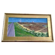 D. E. West, Mid-West Cattle Yard Landscape Oil painting Signed by Artist